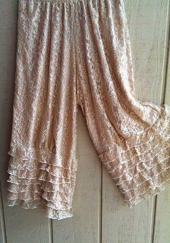 Ruffle Hem Bloomers Crop Pant Pearl Lace Lined in Magnolia Tea Stain Lagenlook   eBay
