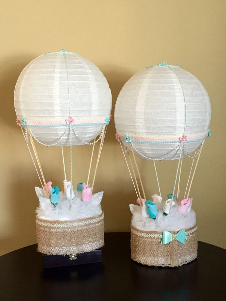 Hot air balloon baby shower table centerpiece nursery for Baby shower decoration ideas with diapers