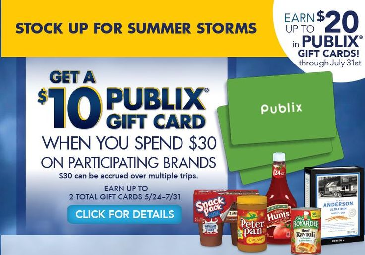 Don't forget about the PUBLIX Stock Up For Summer Storms rebate. You can earn up to $20 in Publix gift cards through 7/31  Click the link below to get all of the details  ► http://www.thecouponingcouple.com/rebate-stock-up-for-summer-storms-publix-gift-cards-earn-up-to-20-thru-73114/