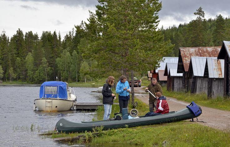 Canoe route 'Tiomila Traverse', beginning at Sjöhuset, 5 days, start by Tyngsjö Vildmark, Dalarna, Sweden. Photo made Fam. de Koning