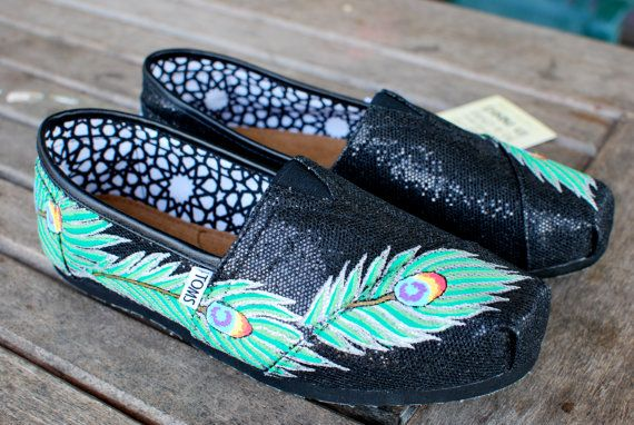 Black Glitter Peacock Feather TOMS shoes by BStreetShoes on Etsy $149 <3