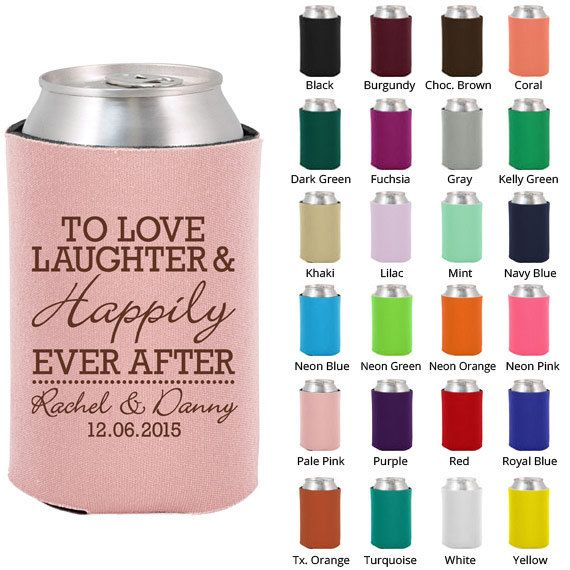 Wedding Beer Coozies (Clipart 1831) Love Laughter Happily Ever After - Personalized Koozies - Custom Koozies - Wedding Favor Koozies on Etsy, $49.00