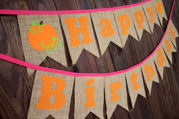 Pink Pumpkin Patch Happy Birthday Pennant Banner for Fall First Birthday Party…