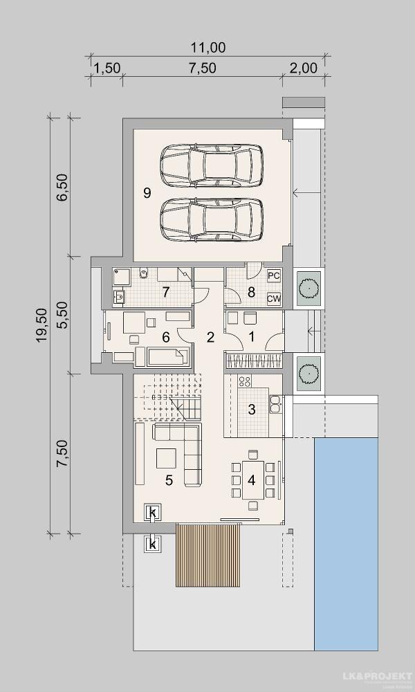 Projekty domów LK Projekt LK&1398 rzuty Parter