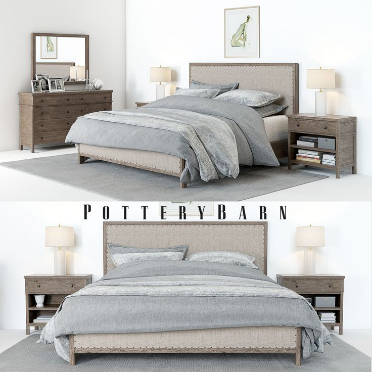 3D Model - Pottery Barn -Toulouse Bedroomset with bedside tables, lamps, chest & decor.  Originals: Bedroom: http://www.potterybarn.com/products/toulouse-upholstered-bed/ .  Formats: 3Dsmax 2011 + Vray. OBJ. FBX.  Polygons: 49198  Vertexes: 50150