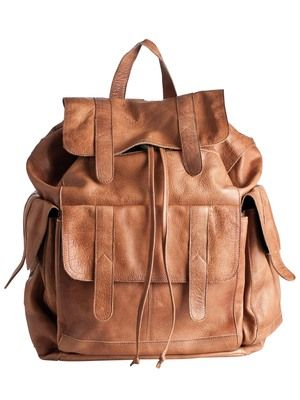 PIECES LEATHER BACK PACK, COGNAC. Ive become obsessed with smart looking  backpacks. love