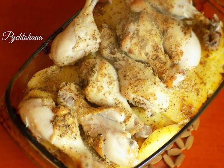 Udka pieczone w musztardzie na ziemniakach