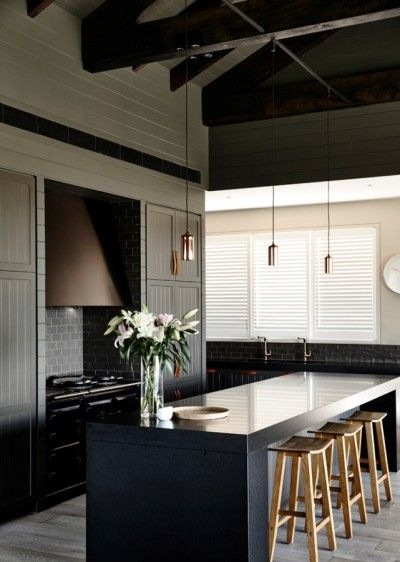 Cosy Chic A Masculine Palette Of Black Beige And Charcoal Is Softened By Subtle Black Kitchen Cabinetsblack Kitchensmasculine Kitchenminimalist