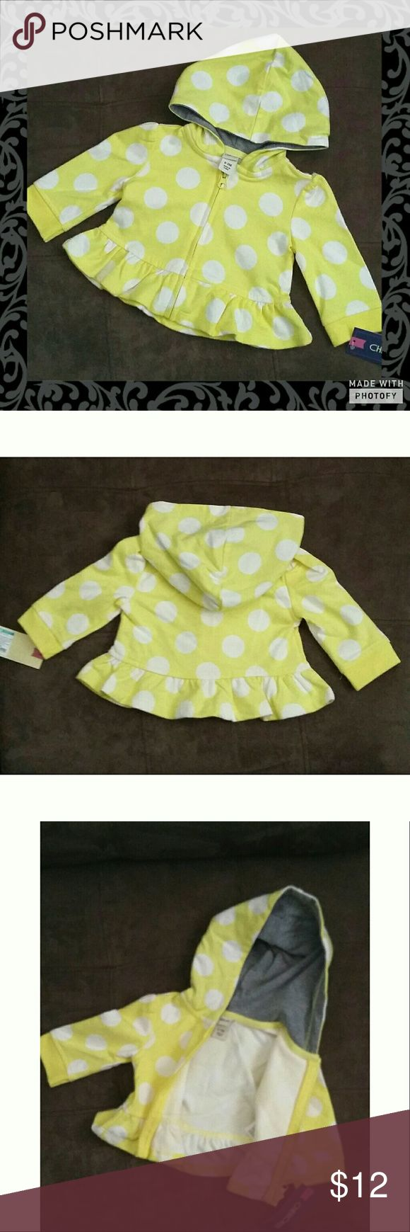 Yellow Polka Dot Zip Up Hooded Sweater Yellow Polka Dot Zip Up Hooded 0 to 3 month sweater. New with tags. 100% cotton. Light cute sweater perfect for spring time. Ruffled bottom. Cherokee Shirts & Tops Sweatshirts & Hoodies