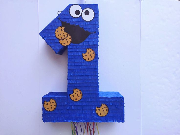 COOKIE MONSTER PINATA, Sesame Street party,  Pull String Piñata, Monstruo de las Galletas, Number one Pinata, choose any Number by TRUSTITI on Etsy
