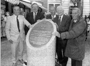 After the unveiling of the Bloomer Memorial, left to right: John Morris, Arthur Rowley, Nat Lofthouse, Tom Finney, Wilf Mannion