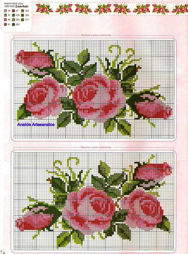 rosas ponto cruz cross stitch roses