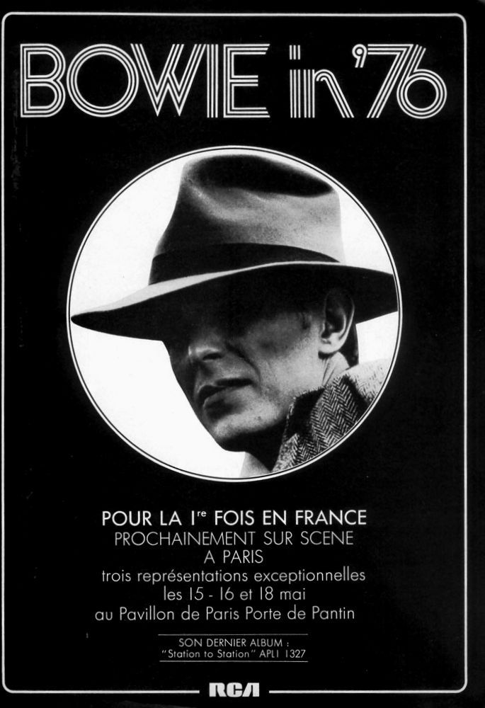 David Bowie 1976 Concert Poster / Advertise France