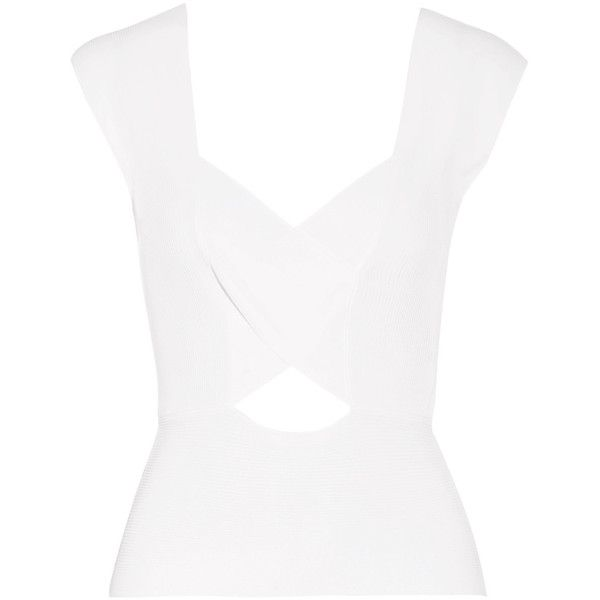 Emilio Pucci - Cutout Ribbed-knit Tank (390 CAD) ❤ liked on Polyvore featuring tops, blouses, white, patterned tops, rib knit tank top, rib knit tank, cutout tops and cut out tank