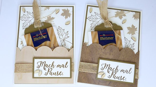 Herbstliche Karte mit Tee