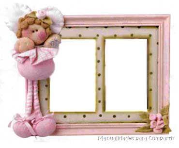 Porta retrato decorado con hadita de tela