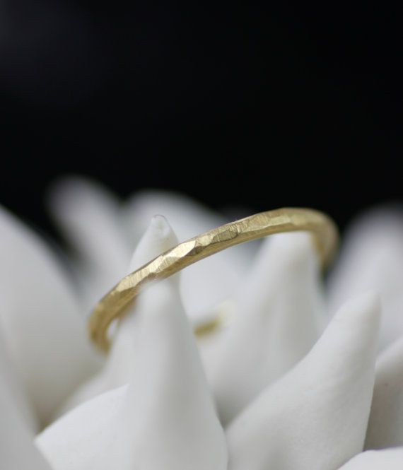 skinny wedding band thin 18K gold hand faceted simple by lolide