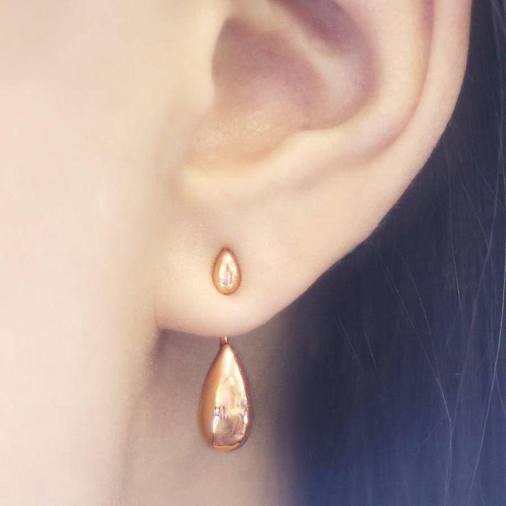 Rose Gold Ear Jackets, Teardrop Earrings, Stud Earrings, Edgy Earrings, Dainty Earring, Rose Gold Jewelry, Minimal Earrings, Simple Earrings