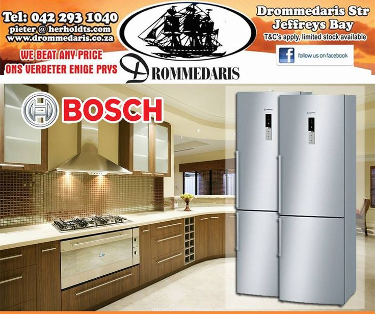 The Bosch Fridge Freezer Combo has a frost free bottom freezer which means that you never again have to go through the hassle of defrosting. Get it now at #Drommedaris. #Bosch #appliances