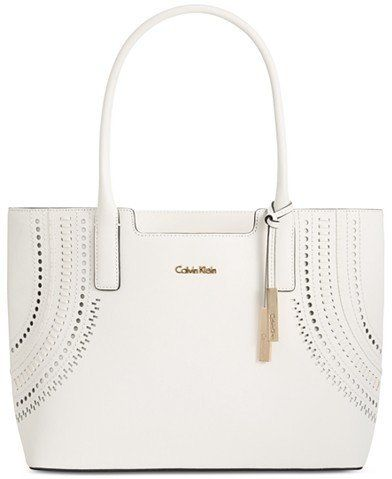 Calvin Klein Cut-Out Detail Saffiano Leather Tote
