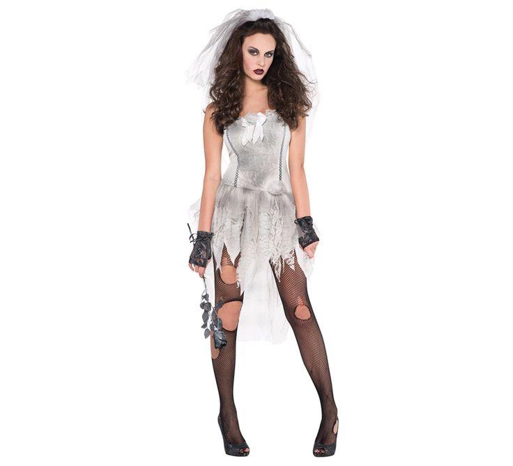 Disfraz de Novia cadáver sexy para mujer en varias tallas para Halloween. Novia zombie o fantasma. Se compone de vestido y velo. Completa este disfraz con artículos de nuestra sección de accesorios como maquillaje, peluca, rosa o ramo de rosas, sangre, guantes o mitones, medias, anillo, cesta, saco o bolsa para caramelos...