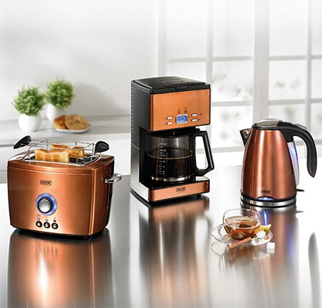 Copper microwave beem nobilis copper style breakfast set for Small apartment coffee maker