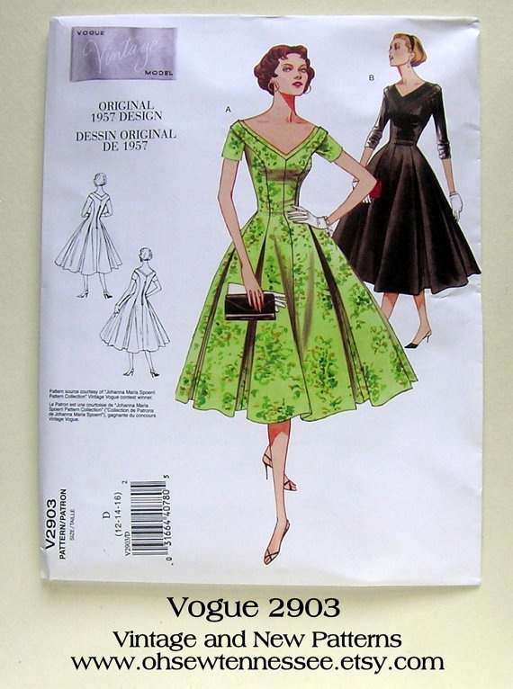 Vintage Dress Design  Vogue 2903  Reissued 1957 by ohsewtennessee, $12.00