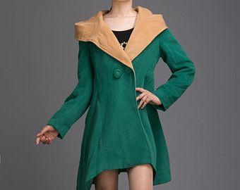 Damen grünen Mantel Kapuzen Cape Mantel Kaschmir Wolle Wintermantel Mantel Kapuzenjacke BJ039