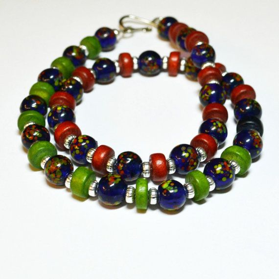 Colorblock Necklace / Navy Green Red / Wood by EverydayDistinction, $32.00
