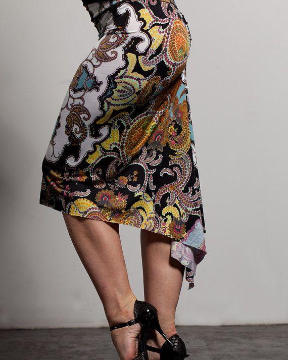Argentine Tango Fish Tail Skirt  Paisley Pattern by TheGiftofDance