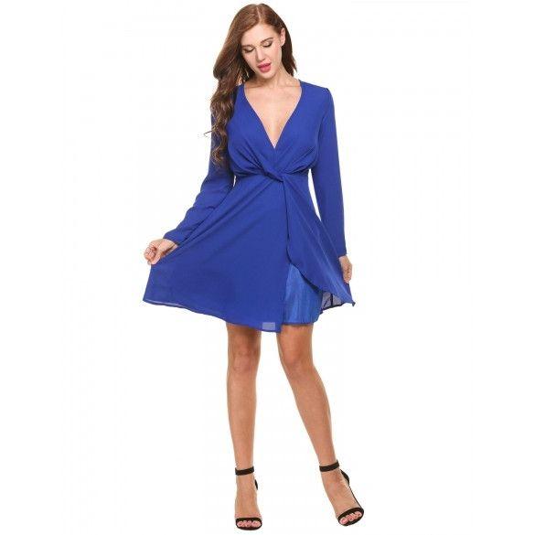 Women's Deep V-Neck Long Sleeve Draped Faux Wrap Chiffon Dress