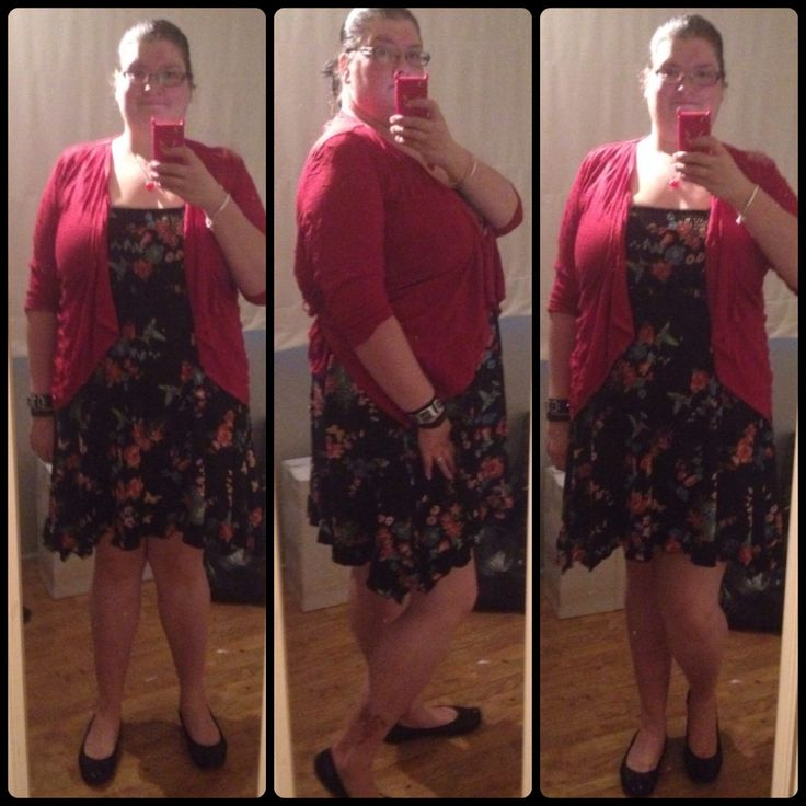 OOTD for 10/2/14 Dress #Autograph, cardi #ts14plus, ballet shoes #barefoottess, silver heart pendent : #prouds