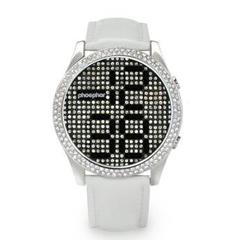 Relojes Blanco: Phosphor Appear, Esfera con Cristales Swarovski con Tecnología Micro Magnética Mecánica Digital M3D y Correa de Charol blanca  http://www.tutunca.es/reloj-blanco-phosphor-appear-swarovski