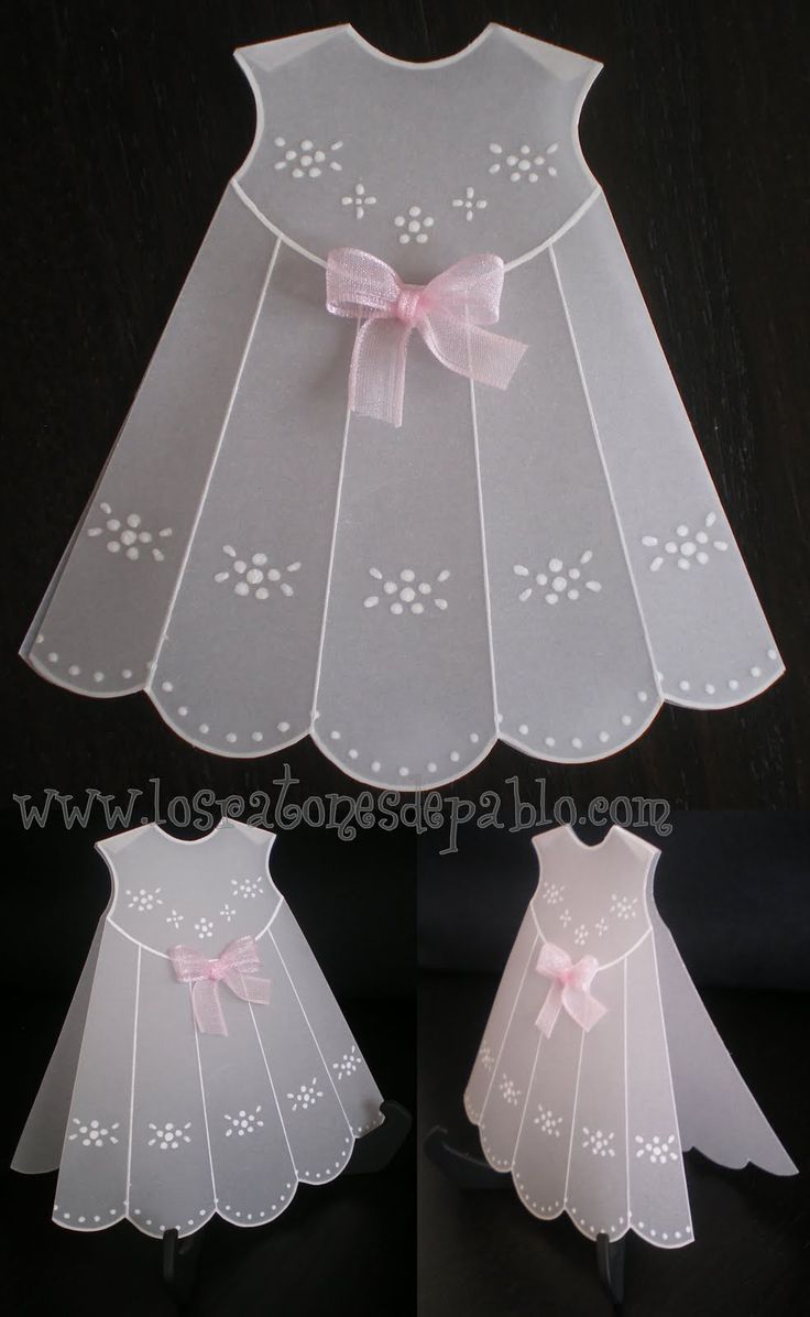 Use embossing templates and vellum to make a vintage baby dress embellishment for your heritage page.