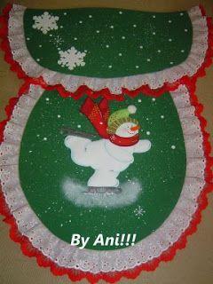 Navidad Moldes De Amanda: JUEGOS DE BAÑO NAVIDEÑOS NIEVE PATINANDO 1/