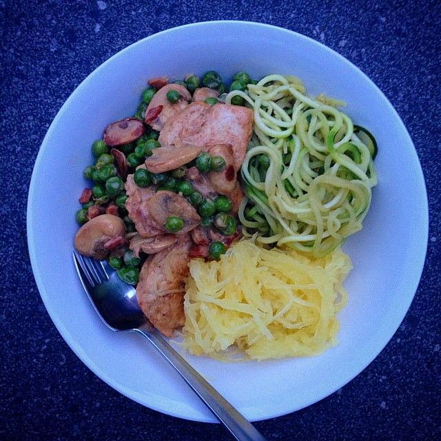 """Chicken Carbonara #iqs style. I finally mastered the zoodle maker (yay! ) and also experimented with a spaghetti squash- as the name suggests, it's…"""