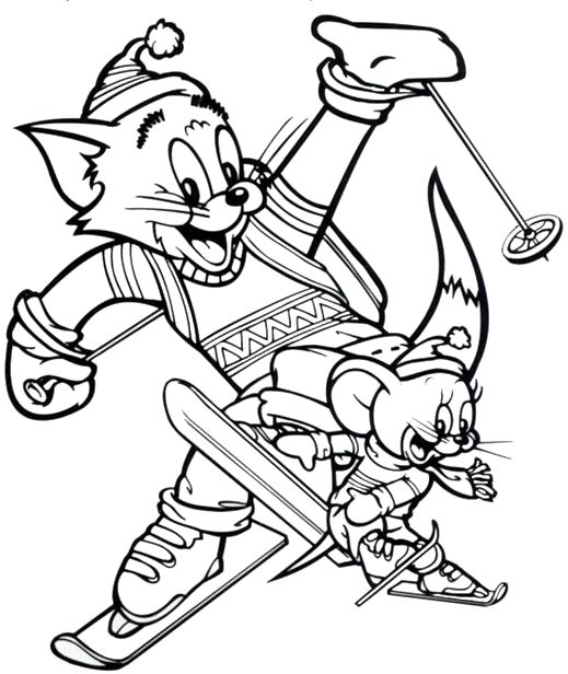 Tom and jerry are playing ice skating coloring pages