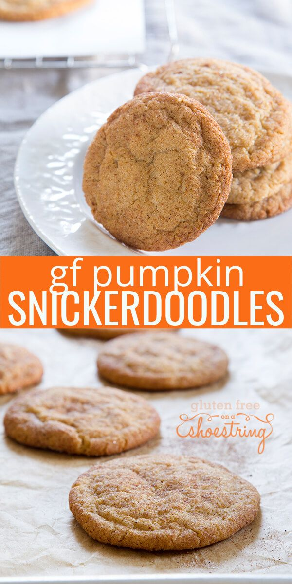 Crisp-tender gluten free snickerdoodles made with pumpkin spice and pumpkin butter are as perfect for fall baking as they are for your Christmas plate!