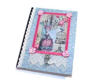 Journal, Marie Antoinette, French Inspired, Lined, Travel, Personal Diary, Notebook, Dream, Exercise, Food Journal, Altered Composition Book
