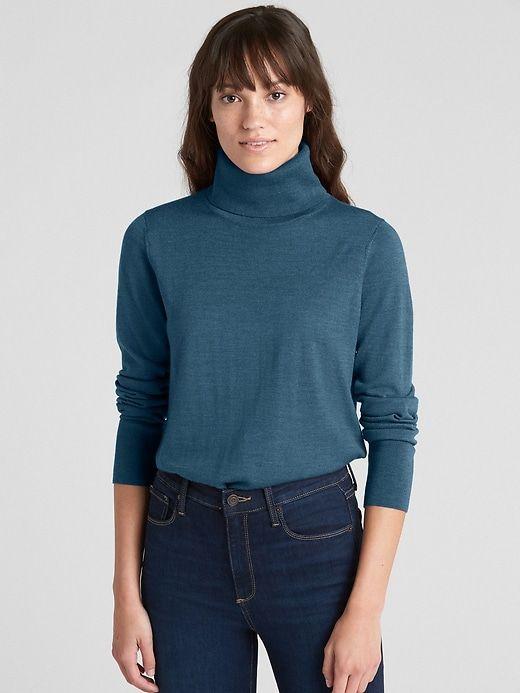 Gap Women s Turtleneck Sweater In Merino Wool Teal in 2019 ... 7c64a3571