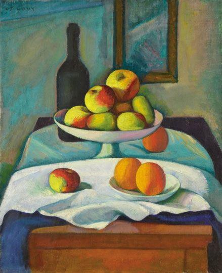 Czigány Dezső (1883-1938)  Csendélet almákkal, narancsokkal  Olaj, vászon, 61,5x51 cm