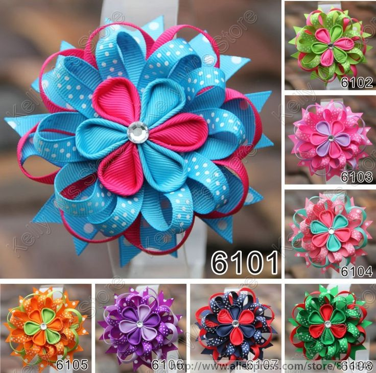 Stacked bow with kanzashi flowers and loops!                                                                                                                                                      Más