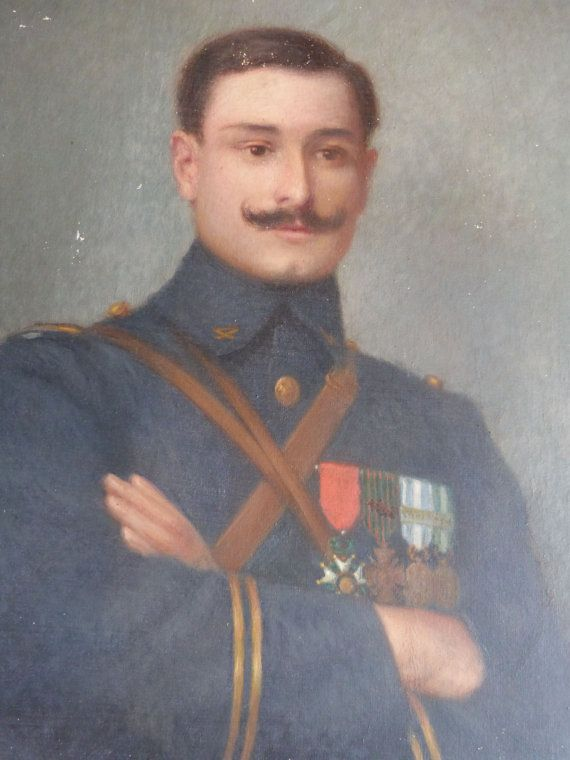 Large Antique French portrait oil painting on linen  Signed oil painting on linen on a wooden frame, representing an infantry military of world war 2 His grade was sous lieutenant in the French army He wears several military medals  Early 1900s  Found in a Chateau of the South of France  The portrait is handpainted with fine details Please use the zoom feature to see the tiny details Much prettier in reality than on the pictures, believe me  The gentleman portrait is signed on the left lower…
