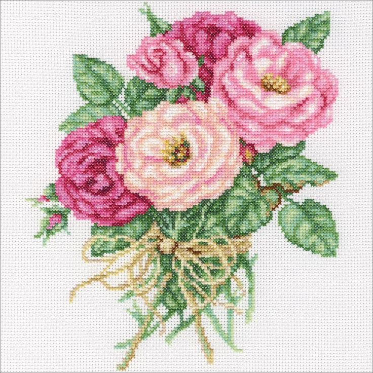 """Rose Bouquet Counted Cross Stitch Kit-7.5""""X8.75"""" 14 Count"""
