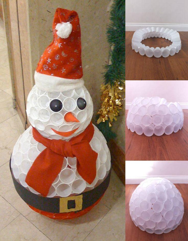 Les 25 meilleures id es de la cat gorie bonhomme de neige gobelet sur pinterest bricolage de - Faire un bonhomme de neige avec des gobelets ...
