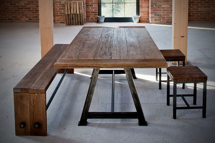 industrial bench, stools, a-frame table