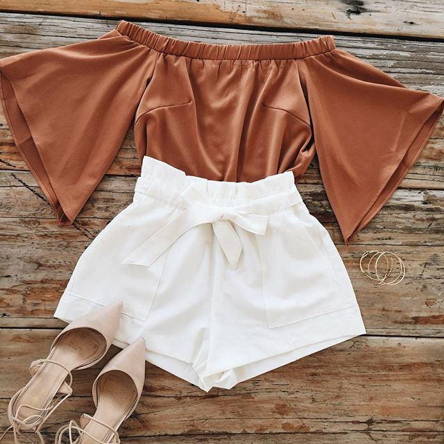 Off the shoulder   Burnt orange   Silk   White   Shorts   Point heels   flat lay  Shop the Rise top and Lead me Astray shorts!  www.muraboutique.com.au #mura