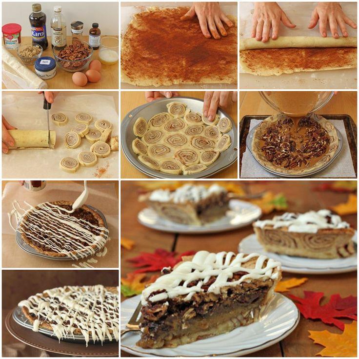 DIY Yummy Cinnamon Bun Pecan Pie