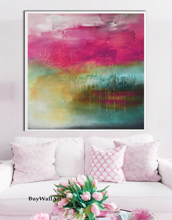 Large Pink teal art abstract Painting pink Giglee by BuyWallArt