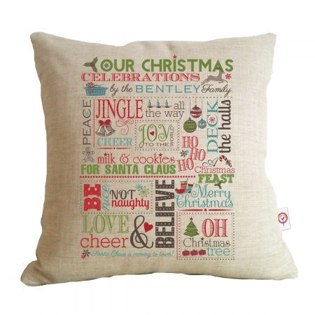 Personalised family Christmas chart cushion CHRISTMAS IN #HTFSTYLE